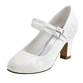 Women's Wedding Shoes Chunky Heel Round Toe Crystal Elastic Fabric Basic Pump Spring / Fall White / Ivory / Party  Evening / EU41
