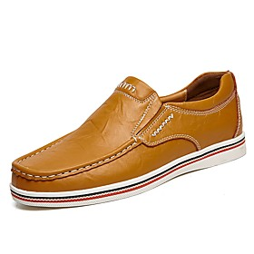 Men's Loafers  Slip-Ons Comfort Loafers Comfort Shoes Casual Cowhide Black / Brown / Dark Blue Summer / Fall / Split Joint / EU40