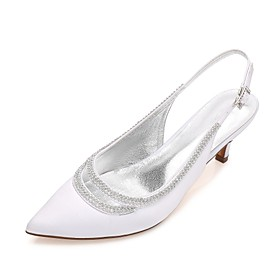 Women's Wedding Shoes Kitten Heel / Cone Heel / Low Heel Pointed Toe Rhinestone / Sparkling Glitter / Hollow-out Satin Comfort / Mary Jane / D'Orsay  Two-Piece