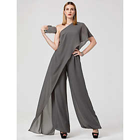Jumpsuits Sexy Grey Wedding Guest Formal Evening Dress One Shoulder Sleeveless Floor Length Chiffon with Draping 2020