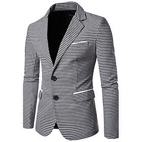 Men's Work Business / Vintage Fall Regular Blazer, Houndstooth Peaked Lapel Long Sleeve Cotton Green / Black / Business Casual / Slim