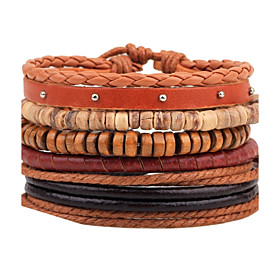 Men's Bead Bracelet Wrap Bracelet Leather Bracelet Rope woven Personalized Fashion Wooden Bracelet Jewelry Brown For Casual Stage Street Going out Club