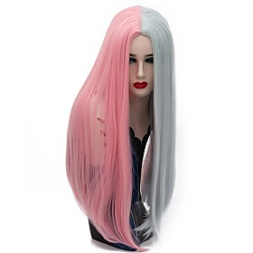 Synthetic Wig Straight Straight Wig Pink Long Pink / Purple Synthetic Hair Women's Pink Gray