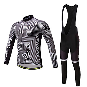 Men's Long Sleeve Cycling Jersey with Bib Tights - Black Bike Clothing Suit 3D Pad Quick Dry Sweat-wicking Sports Polyester Lycra Stripe Mountain Bike MTB Road