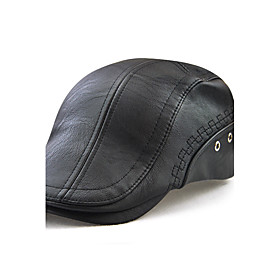 Men's Active Outdoor PU Beret Hat-Solid Colored Embroidered Black Brown