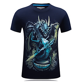 Men's Plus Size Graphic Slim T-shirt - Cotton Active Daily Sports Weekend Round Neck Black / Navy Blue / Spring / Summer / Fall / Short Sleeve