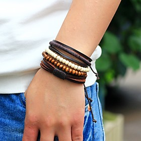 Men's Bead Bracelet Wrap Bracelet Leather Bracelet woven Personalized Fashion Wooden Bracelet Jewelry Brown For Street