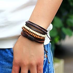 Men's Bead Bracelet Wrap Bracelet Leather Bracelet woven Personalized Fashion Wooden Bracelet Jewelry Brown For Street