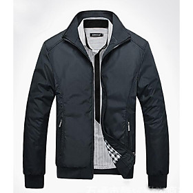 Men's Hooded Summer Jacket Regular Solid Colored Daily Long Sleeve Cotton Black Blue Green M L XL