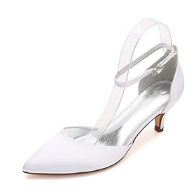 Women's Wedding Shoes Comfort D'Orsay  Two-Piece Basic Pump Ankle Strap Spring Summer Satin Wedding Dress Party  Evening Rhinestone