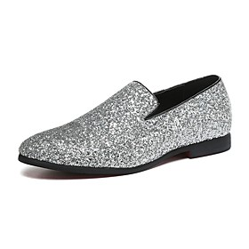 Men's Loafers  Slip-Ons Novelty Shoes Comfort Shoes Wedding Casual Party  Evening Walking Shoes Paillette / Leather / Glitter Gold / Silver Spring / Fall / Spa