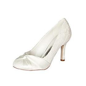Women's Wedding Shoes Stiletto Heel Round Toe Basic Pump Wedding Party  Evening Bowknot Elastic Fabric Ivory