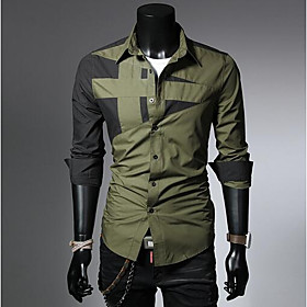 Men's Casual / Daily Shirt Color Block Solid Colored Long Sleeve Tops Simple Classic Collar White Black Red