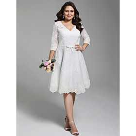 A-Line Wedding Dresses V Neck Knee Length All Over Lace 3/4 Length Sleeve Casual Vintage See-Through Illusion Detail Backless with Sashes / Ribbons Bow(s) Butt