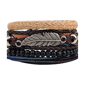 Men's Women's Bead Bracelet Wrap Bracelet Leather Bracelet woven Feather Personalized Vintage Leather Bracelet Jewelry Black For Daily Stage Street Going out C
