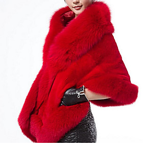 Women's Square Neck Fall Fur Coat Regular Solid Colored Daily Faux Fur White Black Red One-Size / Winter