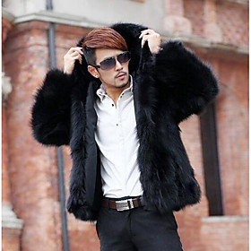 Men's Hooded Winter Fur Coat Regular Solid Colored Daily Long Sleeve Faux Fur White Black Brown S M L