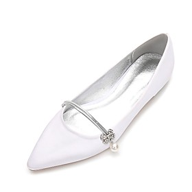 Women's Satin Spring / Summer Comfort / Ballerina Wedding Shoes Flat Heel Pointed Toe Rhinestone / Pearl / Imitation Pearl Blue / Champagne / Ivory / Party  Ev