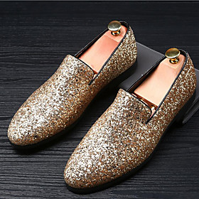 Men's Loafers  Slip-Ons Moccasin British Wedding Casual Party  Evening Glitter Black / Gold / Silver Summer / Fall / Sparkling Glitter / Office  Career / EU40