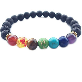 Men's Women's Crystal Obsidian Bead Bracelet Love Rainbow Chakra Personalized Classic Vintage Basic Simple Style Crystal Bracelet Jewelry Rainbow For Christmas
