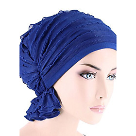 Women's Turban Active Cotton Floppy Hat-Solid Colored Pleated Fuchsia Wine Royal Blue / Cute / Fabric
