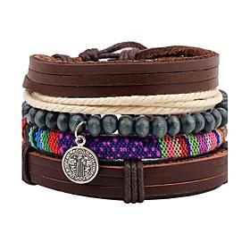 Men's Bead Bracelet Wrap Bracelet Leather Bracelet Rope Personalized Wooden Bracelet Jewelry Brown For Christmas Gift Stage Street Club