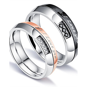 Men's Couple Rings Band Ring Groove Rings AAA Cubic Zirconia White Titanium Steel Circle Luxury Classic Love Party Birthday Jewelry