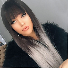 Synthetic Wig Straight Straight Silky Straight With Bangs Wig Medium Length Black / Grey Synthetic Hair Women's With Ponytail Black Grey Ombre