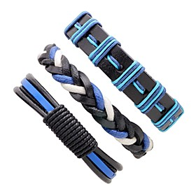 Men's Leather Bracelet Rope woven Personalized Hip-Hop Leather Bracelet Jewelry Blue For Stage Club