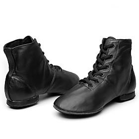 Men's Women's Jazz Shoes Boots Flat Heel Leather Black / Performance