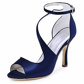 Women's Wedding Shoes Summer High Heel Peep Toe Basic Wedding Party  Evening Solid Colored Elastic Fabric Black / Dark Purple / Blue / EU41