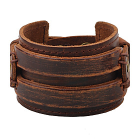 Men's Leather Bracelet Fashion Hip-Hop Leather Bracelet Jewelry Black / Brown For Casual Stage