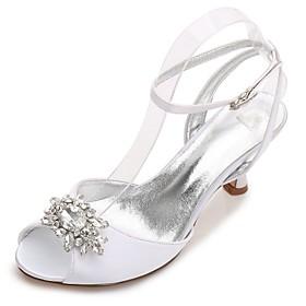 Women's Wedding Shoes Glitter Crystal Sequined Jeweled Kitten Heel / Cone Heel / Low Heel Round Toe / Peep Toe Rhinestone / Crystal / Sparkling Glitter Satin C