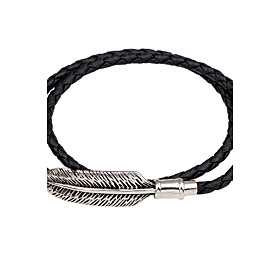 Men's Women's Leather Bracelet woven Magnetic Feather Personalized Vintage Leather Bracelet Jewelry Black / Brown For Casual Going out