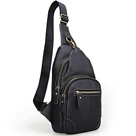 Men's Bags Cowhide Sling Shoulder Bag Zipper for Event / Party / Outdoor Black / Brown / Coffee / Fall  Winter