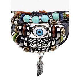 Men's Bead Bracelet Leather Bracelet Evil Eye Personalized Hip-Hop Leather Bracelet Jewelry Black For Stage Street