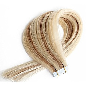 Tape In Human Hair Extensions Straight Human Hair Human Hair Extensions Women's Beige Blonde / Bleached Blonde