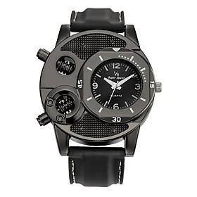 Men's Sport Watch Quartz Charm Water Resistant / Waterproof Analog Black / Stainless Steel / Leather / Genuine Leather / Genuine Leather