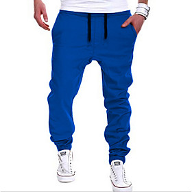 Men's Active / Street chic Daily Sports Going out Harem / wfh Sweatpants Pants - Solid Colored Khaki Light gray Royal Blue XL XXL XXXL / Weekend