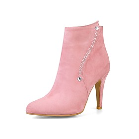 Women's Boots Stiletto Heel Pointed Toe Zipper Nubuck leather Booties / Ankle Boots Comfort / Fashion Boots Spring / Fall Gray / Pink / Almond / Wedding / Part