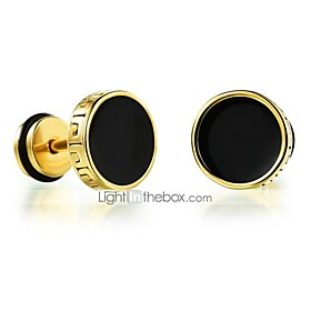 Men's Stud Earrings Magic Back Earring flat back Rock Fashion Titanium Steel Earrings Jewelry Gold / Silver For Daily Casual