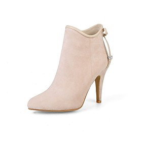 Women's Boots Stiletto Heel Pointed Toe Zipper / Lace-up Nubuck leather Booties / Ankle Boots Fashion Boots Spring / Fall Gray / Pink / Almond / Party  Evening
