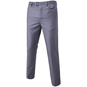 Men's Work Dress Pants Business Pants - Solid Colored Formal Style Spring Fall Wine Black Purple S / M / L