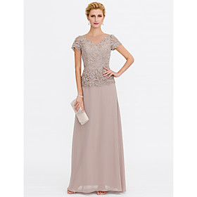 A-Line Mother of the Bride Dress Elegant Plus Size Jewel Neck Floor Length Chiffon Beaded Lace Short Sleeve with Lace Beading 2020