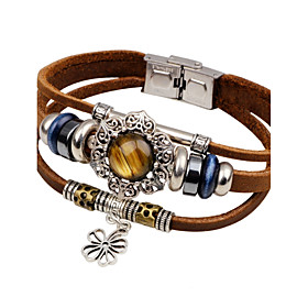 Men's Turquoise Leather Bracelet Sun Flower Vintage Fashion Leather Bracelet Jewelry Black / Brown For Casual Going out