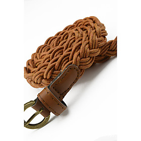 Women's Braided Imitation Leather Belt with Gold Buckle - 3D Vintage Style