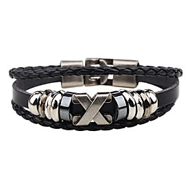 Men's Leather Bracelet woven Alphabet Shape Personalized Hip-Hop Stainless Steel Bracelet Jewelry Black / Brown For Street Club