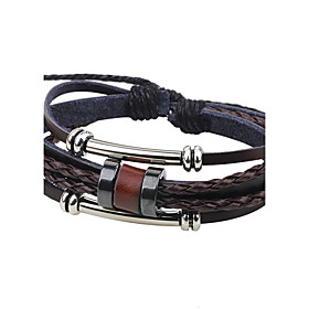 Men's Leather Bracelet Fashion Leather Bracelet Jewelry Coffee For Casual Going out