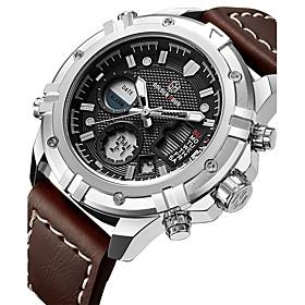 Men's Sport Watch Military Watch Digital Watch Quartz Luxury Water Resistant / Waterproof Analog White Black Brown / Stainless Steel / Leather / Genuine Leathe