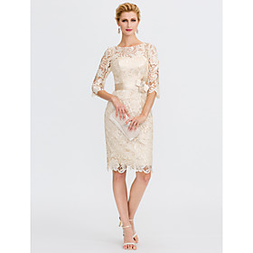 Sheath / Column Mother of the Bride Dress Elegant Plus Size Illusion Neck Knee Length All Over Lace 3/4 Length Sleeve with Bow(s) 2020 / Il